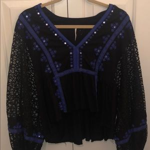 Free People Black Blouse with Blue Detail Sm